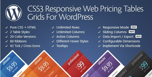 CSS3 Responsive WordPress Compare Pricing Tables 10.9
