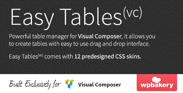 Easy Tables – Table Manager for Visual Composer 1.0.10