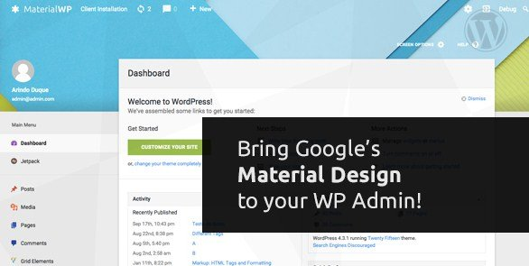 Material WP – Material Design Dashboard Theme 0.0.52
