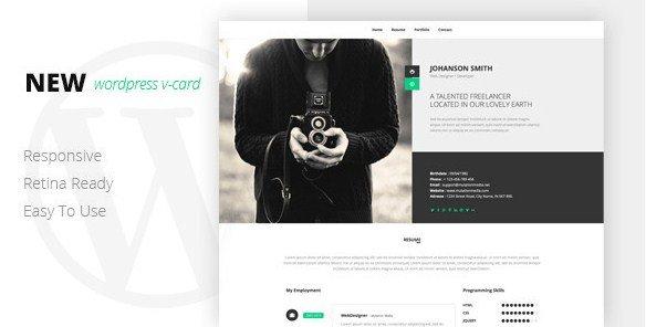 NEW Retina Ready WordPress Vcard Theme 1.0.1