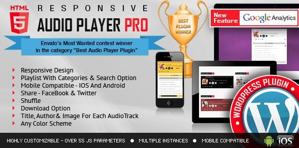 Responsive HTML5 Audio Player PRO WordPress Plugin 2.4.4