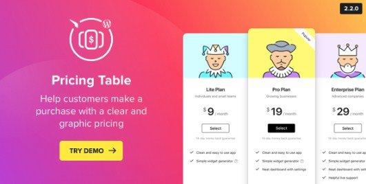 WordPress Pricing Table Plugin 2.3.0